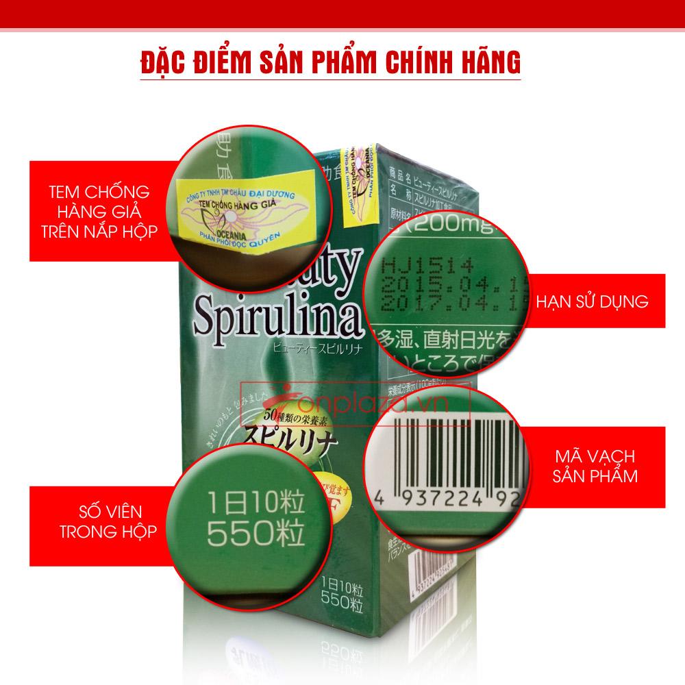 Tảo Beauty Spirulina Nhật Bản (550 viên/hộp) TC011