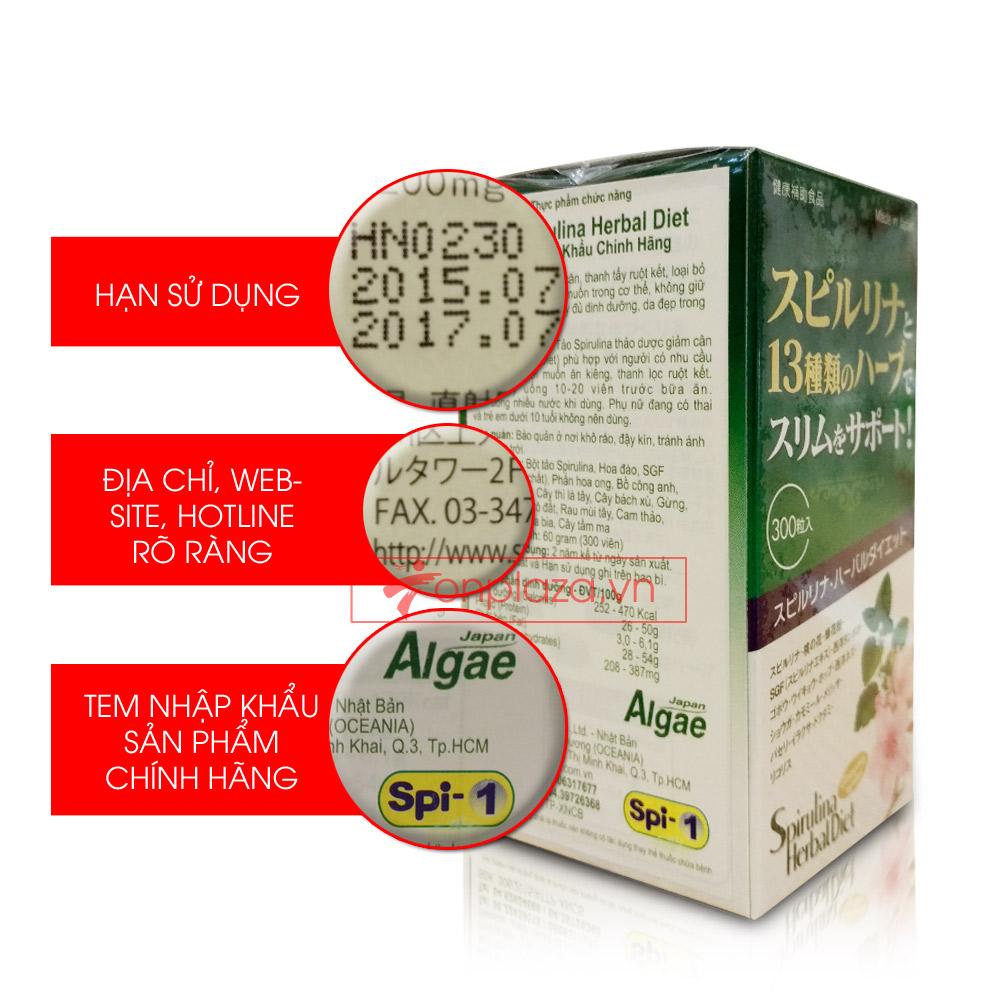 Tảo Spirulina Herbal Diet (300 viên/hộp) TC013